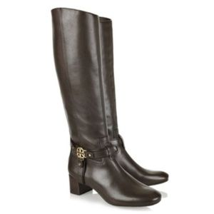 Tory Burch Donovan Brown Leather Riding Boots 6.5